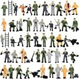 P8710 50pcs 1:87 HO Scale Railway Model Worker Well Painted Figures with Bucket and Ladder Miniature 2cm High People Tiny Wor