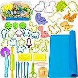 Play Dough Tools Kit for Kids, 41Pcs Dough Accessories Molds, Shape, Scissors, Roller Pin, Playdough Mat with Storage Bag, Pa
