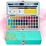 Artistro Watercolor Paint Set, 48 Vivid Colors in Portable Box, Including Metallic and Fluorescent Colors. Perfect Travel Wat