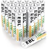 EBL 20 Pack AAA Rechargeable Batteries Ni-MH 1100mAh High Capacity (Typical 1100mAh, Minimum 1000mAh)