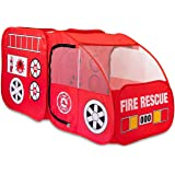 Fire Truck Tent for Kids, Toddlers, Boys & Girls - Red Fire Engine Pop Up Pretend Playhouse for Indoors & Outdoors - Quick Se