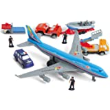PowerTRC Deluxe 57-Piece Kids Airport Playset in Storage Bucket with Toy Airplanes, Play Vehicles, Police Figures, and Access