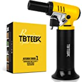 TBTEEK Kitchen Torch, One-hand Operation Butane Torch Lighter with Gas Gauge, Adjustable Flame for BBQ, Baking, Brulee Creme,