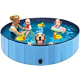 ALLADINBOX Foldable Dog Pool, 63'' Diameter Large-Sized Round Collapsible Dog Pet Pool Pits Ball Pool Bathing Tub Kiddie Pool