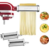 Pasta Maker Attachment for Kitchenaid Stand Mixer, 3 Piece Pasta Maker Machine with Pasta Roller and Cutter Set for Dough She