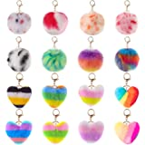 AMCEMIC 16 Pieces Pom Poms Keychains Fluffy Fur Ball, Heart Shape and Round Shape Pompoms Keyring Faux Rabbit Fur Pompoms for