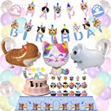 63Pcs Cat Party Decorations Cat Happy Birthday and MEOW Cat Face Banner Cat Cake Toppers Walking Cat Balloons for Pets, Cat L