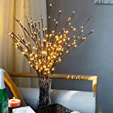 FeiLix Artificial Branches with Lights 3pcs 27.5 Inches 60 LED Lights USB Operated Home Artificial Branches Decoration for Ro