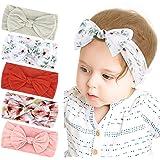 Makone Bohemia Floral Baby Headbands with Bows Handmade Stretchy Nylon Big Hair Bows Headband for Infant Baby Girls