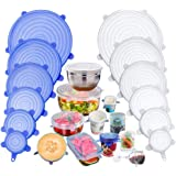 Silicone Stretch Lids, Insta Lids, Instalids, Reusable Silicone Lids With Hanging Holes Fit Round & Square Bowls, Jars, 12-Pa
