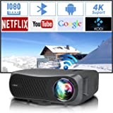 UHD 1920*1080P Dual WiFi Projector 4K Supported, 7200Lux Android Bluetooth Projector for Home, Business, Outdoor, Wireless Sm
