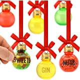 Bar Amigos Eat, Drink and Be Merry Christmas Xmas Baubles Set of 6 50Ml Includes Letter Stickers to Personalise Fill Your Own
