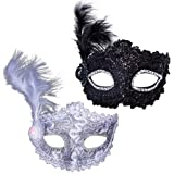 2 PCS Masquerade Eye Masks for Women Venetian Halloween Cosplay Prom Ball Party