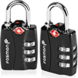 TSA Approved Luggage Locks, Fosmon (3 Pack) Open Alert Indicator 3 Digit Combination Padlock Codes Alloy Body for Travel Bag,