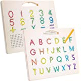 Hautton Magnetic Letters Board, 2 in 1 Alphabet ABC Uppercase Letter Tracing Board and Number Tracing Board, Learn Writing Dr