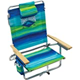 "Tommy Bahama 5-Position Classic Lay Flat Folding Backpack Beach Chair - Blue and Green Stripe, 23"" x 25.25"" x 31.5"""