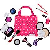 PixieCrush Pretend Play Makeup Kit. Designer Girls Beauty Basics 12 Piece Polka Dot Handbag Set