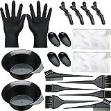 20 Pieces Hair Dye Brush and Bowl Set, Hair Dye Coloring Kit, Hair Tinting Bowl, Dye Brush, Ear Cover, Gloves for DIY Salon H