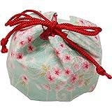 まつみ工芸 日本製 お手玉 巾着入 桜柄 緑 5個入 和風 お土産