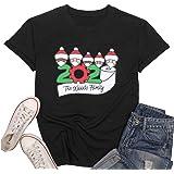 2020 Santa Claus Print Shirt Women Christmas Graphic Short Sleeve T-Shirt 2020 Quarantine Survivor Round Neck Tee Tops