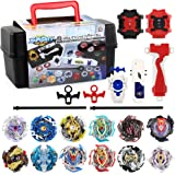 TuKIIE Bey Battling Top Burst Launcher Grip Set Storage Box 12 Top Burst Gyros 3 Launchers Great Birthday Present for Boys Ch