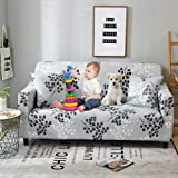 Bikuer Printed Grey Sofa Cover Stretch Couch Cover Sofa Slipcovers for 2 Cushion Couch with 2 Free Pillow Case (Love seat, Si