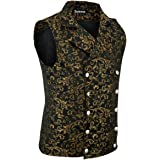 Darkrock Premium Quality Stylish Mens Damask Tapestry Double-Breasted Vest Waistcoat Gothic Aristocrat Steampunk Victorian Ve