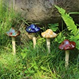 Danmu 4pcs (Random Color) Ceramic Garden Mushrooms Lawn Ornament D?cor Pottery Ornament