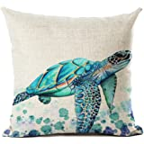 Beautiful Watercolor Beach Sea Turquoise Color Animals Sea Turtle Swimming Print Cotton Linen Throw Pillow Case Cushion Cover