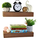 Spiretro Dimension Floating Shelves Wall Mounted Set of 2, Rustic Wood -16.5 inch Ledge to Storage Organize and Display for B