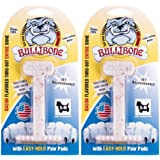 Nylon Dog Chew Toy- Bullibone Small Nylon Bone - Improves Dental Hygiene, Easy to Grip Bottom, and Permeated With Flavor (2-P