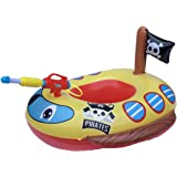 Big Summer Inflatable Ride-on Pool Float for Kids with Built-in Squirt Gun, Pirate Ship and Fire Truck Design