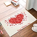 Entrance Way Door Mats Bath Mats Welcome Rugs Happy Valentine's Day Red Love Heart with Butterfly Printed Indoor Mat Rubber B