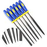 MINI Needle File Set (Carbon Steel 6 Piece-Set) Hardened Alloy Strength Steel - Set Includes Flat, Flat Warding, Square, Tria