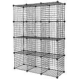 12 Cube Wire Grid Organiser Bookcase Storage Cabinet Wardrobe Closet Black