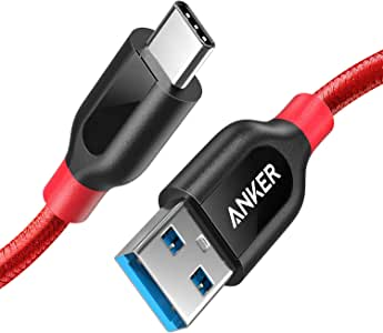 Anker PowerLine+ USB-C & USB-A 3.0 ケーブル (0.9m レッド) Galaxy S10 / S10+ / S9 / S9+、iPad Pro (2018, 11インチ) / MacBook/MacBook Air (2018)、Xperia XZ1 その他Android各種、USB-C機器対応