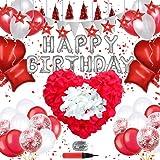 Happy Birthday バルーン 風船 誕生日 飾り付け Birthday Balloonsバースデー パーティー 装飾 デコレーションセット お祝い 赤い色, 花びら 付き