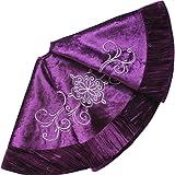 X.Sem Flower Embroidered Velvet Christmas Tree Skirt with Pleat Velvet Border 50'' Purple (50 inch)