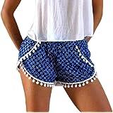 QianQian-AU Women High Waisted Shorts Summer Pom Pom Beach Shorts