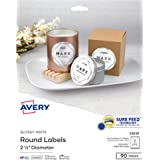 """Avery Printable Round Labels with Sure Feed, 2.5"""" Diameter, Glossy White, 90 Customizable Labels (22830)"""