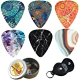 Guitar Picks - Cheliz 12 Medium Gauge Celluloid Guitar Picks In a Box W/Picks Holder. Unique Guitar Gift For Bass, Electric &
