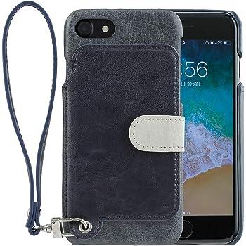 <iPhone8 iPhone7 / 新型> RAKUNI (ラクニ) 本革 背面フリップケース/財布いらず/便利な前面むきだし/ストラップ付き/スタンド機能 (インディゴブルー)