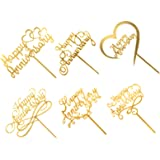 6pcs Happy Anniversary Cake Topper, Gold Sliver Wedding Anniversary Acrylic Cake Toppers, Happy Anniversary Party Decorating