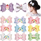 XIMA 10pcs hair bows for girls Children Barrettes Kid Hair Clips Spark Glitter Sequin 3Inch Bow Rainbow Accessories Spring Fa