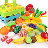REMOKING Food Toy Set, STEM Fruits Vegetables Basket Toy, Funny Kitchen Pretend Cutting Play Food Set, Educational Tableware