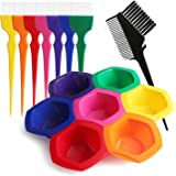 Hair Color Bowl and Brush Set, Hair Coloring Highlighting Tools on Hair Dye, Rainbow Hair Color Mixing Bowls Brushes Comb for