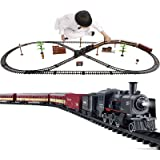 Electric Classical Train Sets with Steam Locomotive Engine, Cargo Car and Tracks, Battery Operated Play Set Toy w/ Smoke, Lig