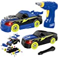 REMOKING Take Apart Racing Car,STEM Building Toys 26 Pieces Assembly Car Toys with Drill Tool, Lights and Sounds, Gifts for K