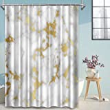 LORIE Abstract White Grey Gold Marble Shower Curtains for Bathroom, Extra Long Heavy Duty Fabric Bathroom Curtains Waterproof