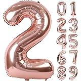 Lausatek バルーン アルミ風船 数字2 ナンバー 40インチ 大きい 誕生日 ハッピーバースデー 飾り付け 記念日 パーティー 約91cm ローズゴールド